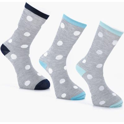 Pack Large Dots Socks With Contrast Heel - grey