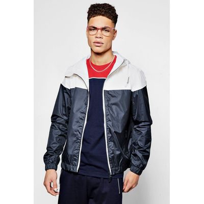 Shower Resistant Colour Blocked Hooded Cagoule - navy