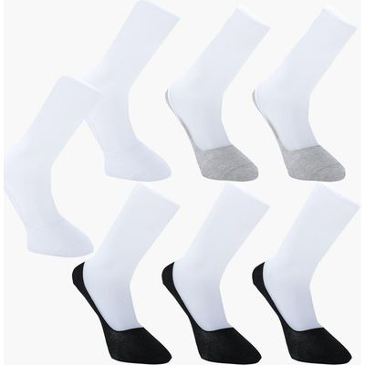 Pack Invisble Monochrome Socks With Grips - multi