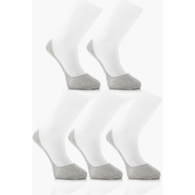 Pack Invisble Grey Socks With Grips - grey