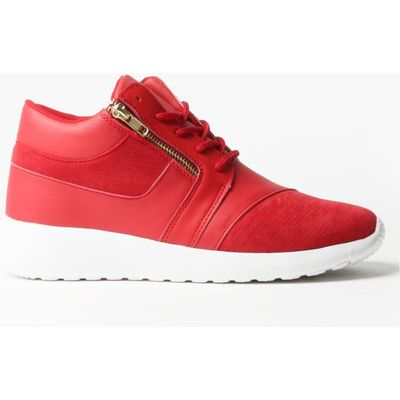 Detail Lace Up Trainer - red