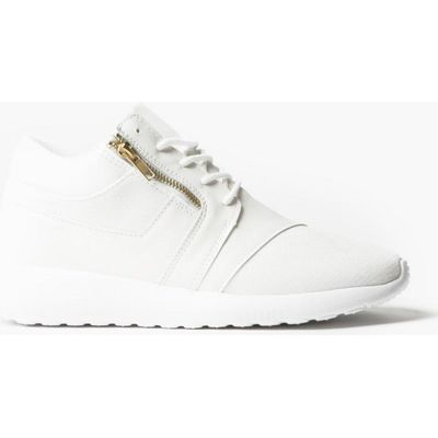 Detail Lace Up Trainer - white