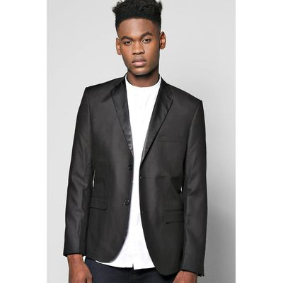 Tux Skinny Fit Jacket With Satin Lapels - black