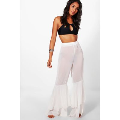 Tiered Frill Beach Pants - white