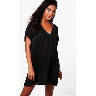 Jersey Beach Cover Up - black