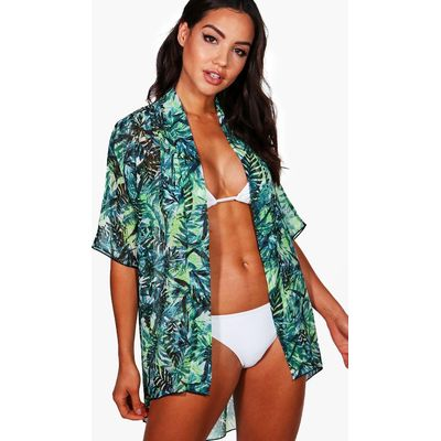 Leaf Print Beach Kimono - green