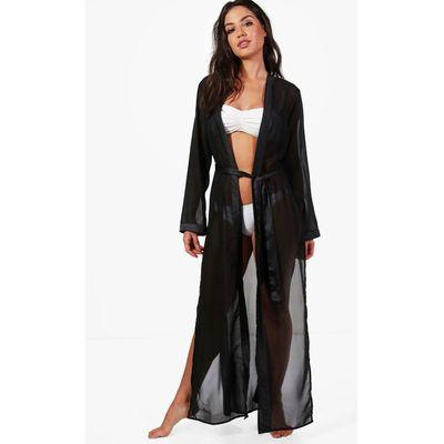 Satin Tie Maxi Beach Kimono - black