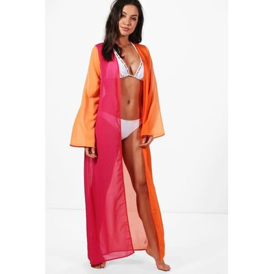 Ombre Maxi Beach Kimono - orange