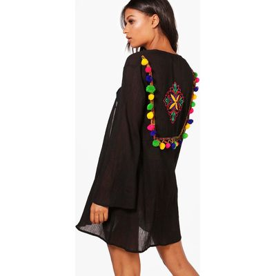 Pom Pom Embroidered Beach Kaftan - black