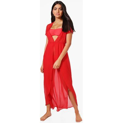 Split Leg Maxi Beach Kaftan - red