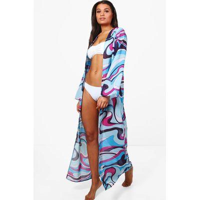 Colour Block Maxi Beach Kimono - purple