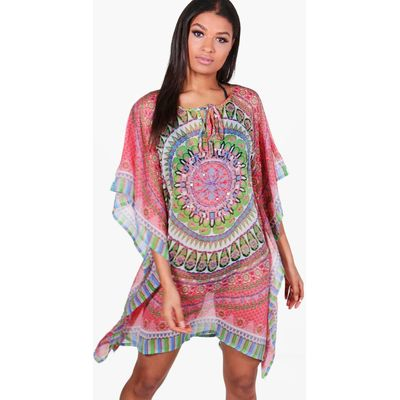Embellished Kaleidoscope Beach Kaftan - red