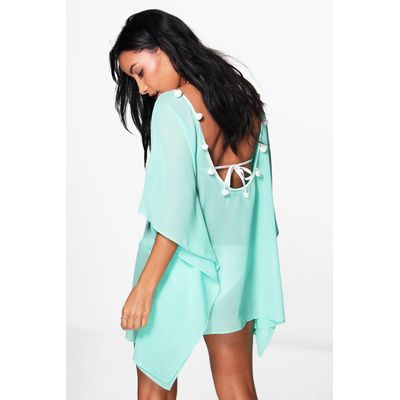 Pom Pom Open Back Beach Kaftan - turquoise