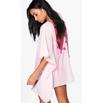Pom Pom Open Back Beach Kaftan - pink