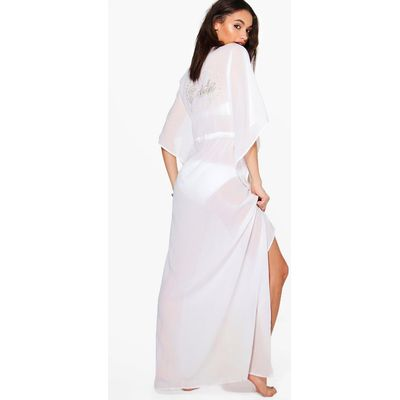 Bridal Embroidered Maxi Beach Kaftan - white