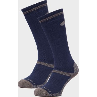 Peter Storm Men's Midweight Knee Length Hiking Socks - Twin Pack - Blue, Blue
