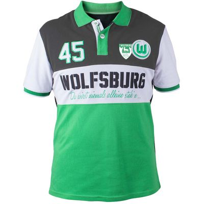 VfL Wolfsburg Striker Polo Shirt - Green/Grey - Mens, Green