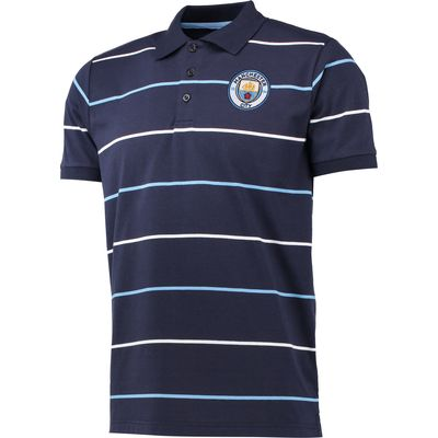 Manchester City Classic Stripe Polo Shirt - Navy, Navy