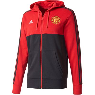 Manchester United 3 Stripe Hoodie - Red, Red