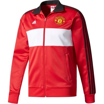 Manchester United 3 Stripe Track Top - Red, Red