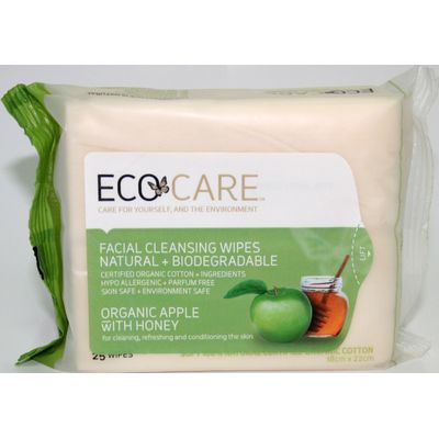 Ecocare Cleansing Face Wipes - Organic Apple With Honey - Pack Of 25