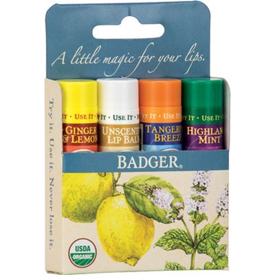Badger Balm Lip Balm Sticks - Blue Pack of 4