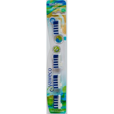 Yaweco Biodegradable Medium Toothbrush Replacement Heads - Pack of 4