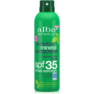 Alba Botanica Fragrance Free Mineral Sunscreen Spray SPF35 - 177ml
