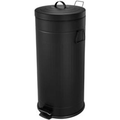 5052931603190 | Cooke   Lewis Brooklyn Slim Powder Coated Black Metal Circular Pedal Bin  30L