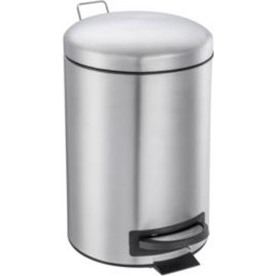 5052931603244 | Cooke   Lewis Abora Soft Close Brushed Chrome Silver Metal Round Pedal Bin  12L