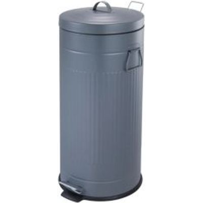 5052931682065 | Cooke   Lewis Brooklyn Slim Powder Coated Grey Metal Circular Pedal Bin  30L