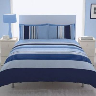 5055184986935   Chartwell Barcode Striped Blue Double Bed Cover Set Store