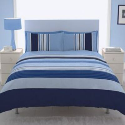 5055184986959 | Chartwell Barcode Striped Blue Kingsize Bed Cover Set Store