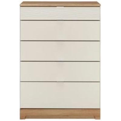 5055854507552 | Noah Oak   Mussel 5 Drawer Chest  H 114 cm  W 80 cm Store