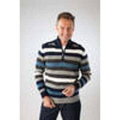 Pullover with front zip, navy striped,in various sizes