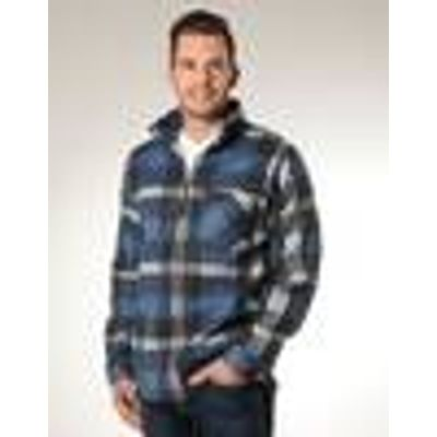 Fleece Shirt with Zipper, colour blue plaid, size M
