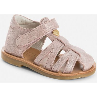 Baby girl sandals with metallic heart Mayoral