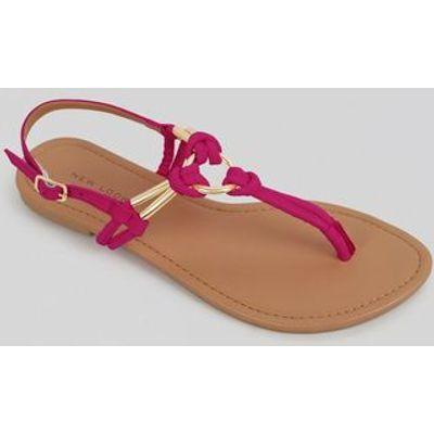Bright Pink Metal Ring Toe Post Sandals