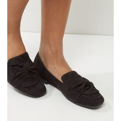 Black Suedette Knot Front Loafers