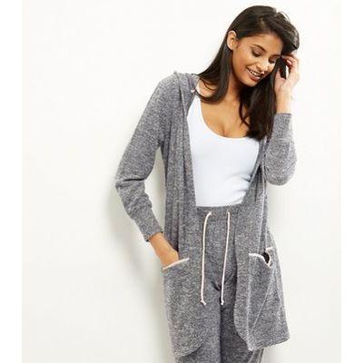 Grey Textured Stripe Sateen Trim Longline Lounge Hooded Cardigan