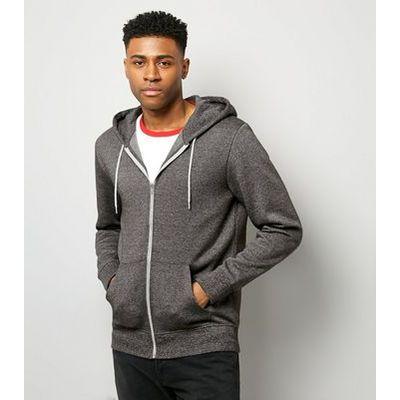 Grey Marl Zip Front Hoodie