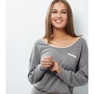 Pale Grey Brushed Sateen Trim Lounge Sweater