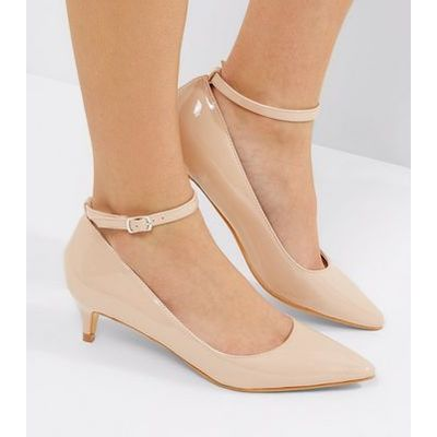 Nude Patent Mid Heel Ankle Strap Court Shoes