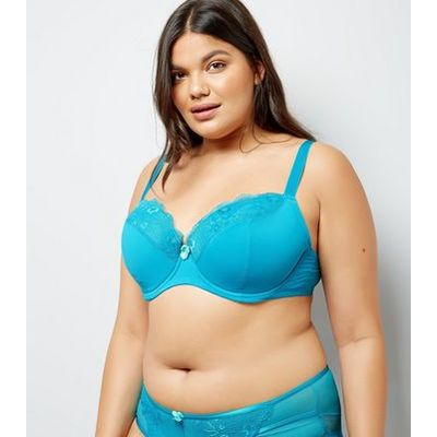 Curves Petrol Blue Mesh And Lace Trim Bra