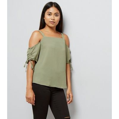 Petite Khaki Ruched Sleeve Cold Shoulder Top