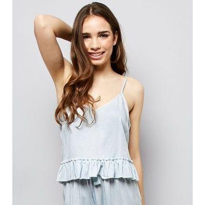 Blue Stripe Peplum Hem Pyjama Cami Top