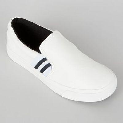 Teens White Contrast Elasticated Stripe Strap Plimsolls