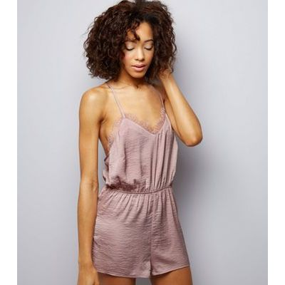 Pink Sateen Lace Trim Lounge Playsuit