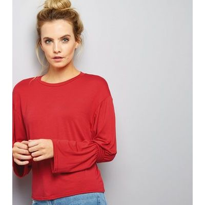 Petite Red Ruche Sleeve Top