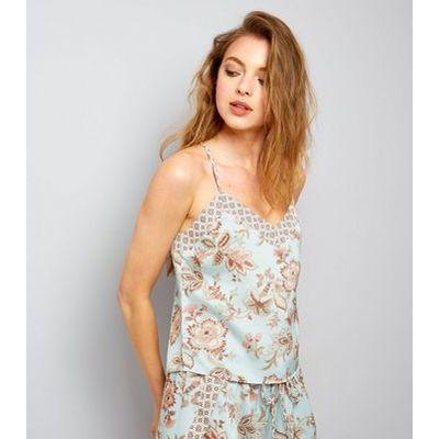 Tall Mint Green Contrast Floral Pyjama Cami